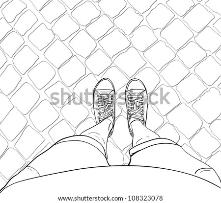 Woman legs in sneakers, standing on the block pavement. Vector illustration.