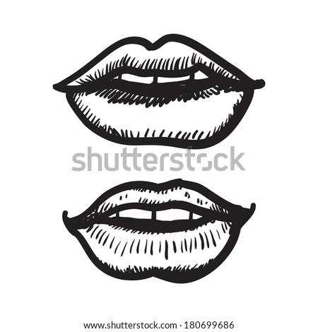 Woman lips. Doodle style - Shutterstock ID 180699686