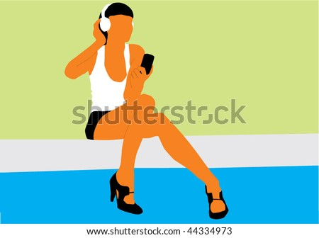 Woman listening to headphones wired to a mobile phone