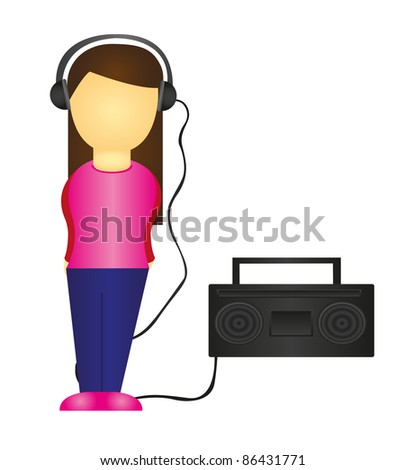 woman listening to music isolated over white background. vector - stock vector