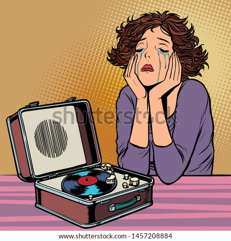 woman listening to sad music