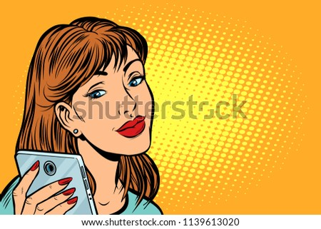 woman looking in smartphone. Pop art retro vector illustration kitsch vintage drawing