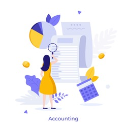 Woman looking through magnifying glass at bill, check or invoice. Concept of accounting and auditing service for business, budget planning, revenue calculation. Modern flat colorful vector illustratio