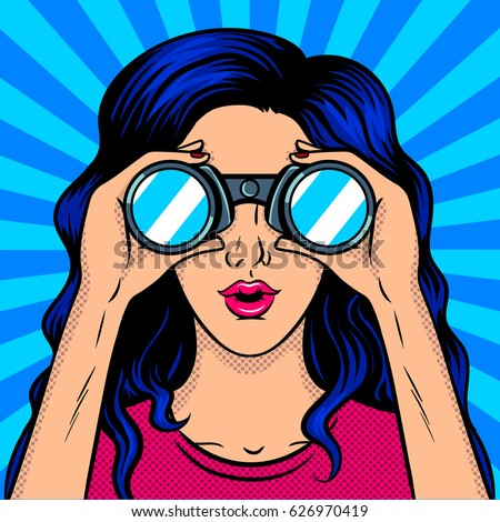 Woman looks through binocular pop art retro vector illustration. Comic book style imitation.