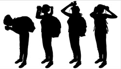 Woman looks through binoculars, forward, down, up, sideways. Girl with backpack. Tourist with binocular. Hiking. Ornithologist. Side view, profile. Four silhouettes are isolated on a white background.