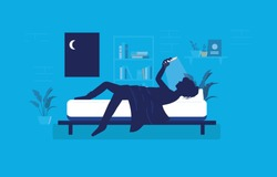 Woman lying awake in bedroom at night using her phone. Smartphone light in face, Restless, sleep deprivation, social media addiction concept. Vector illustration.