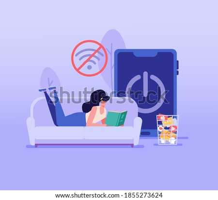 Woman lying on the sofa and reading a book. Concept of digital detox, disconnecting, mediastika, device free zone, internet addiction, no mobile phobia, phubbing. Vector illustration in flat design. Сток-фото ©