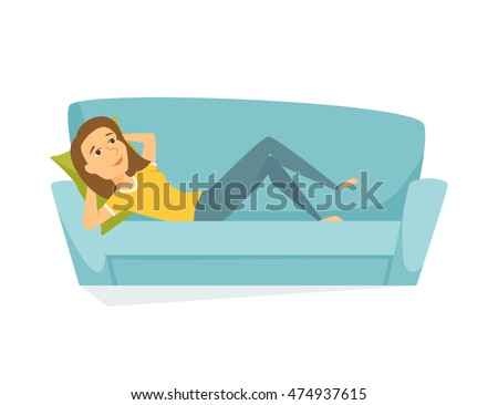 woman lying on the sofa happy