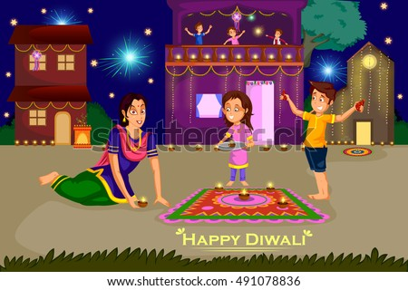Image result for traditional Diwali cartoon