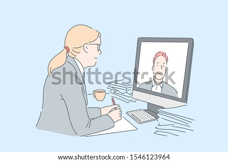 Woman making video call concept. Office worker communicating with business partner online, using modern communication technologies at work, watching internet educational course. Simple flat vector