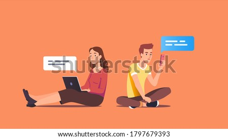 Woman & man couple using messenger application on laptop & cell phone send text messages. Young people chatting online. Chat messaging technology communication. Flat vector character illustration