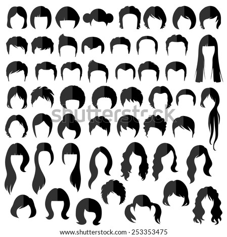 woman , man hair, vector hairstyle silhouette