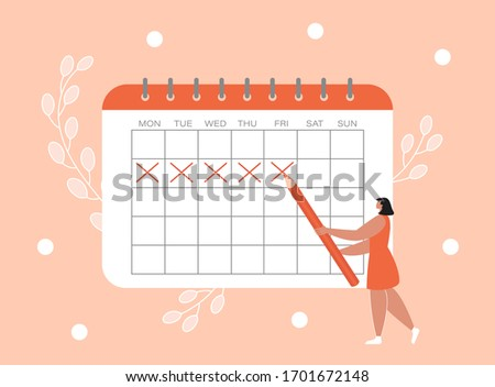 Woman marks the dates of menstruation cycle in the calendar. Concept of an online app for tracking periods, ovulation. Flat vector illustration with a female character