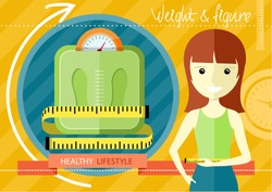 Woman measuring her slim body. Flat design colorful concept for keeping fit, weight loss, fitness, dieting, nutrition regime, healthy lifestyle on stylish background
