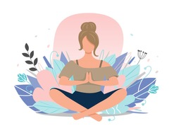 Woman meditating  in nature among flowers. Concept illustration for yoga, meditation, relaxation, healthy lifestyle. Pastel shades. Vector illustration, flat.