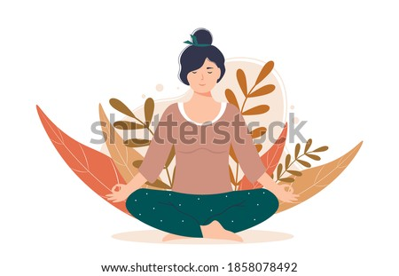 Woman meditating in nature and leaves. Female character is sitting in the lotus position. Concept meditation, relax, recreation, healthy lifestyle. Woman is engaged in yoga.  Foto stock ©