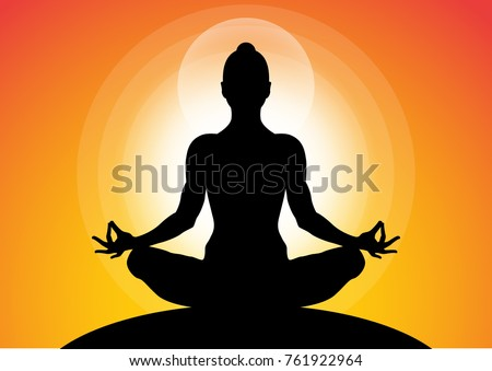 Woman Meditating In Sitting Yoga Position On The Top Of A Mountains At Sunset Zen Silhouettes