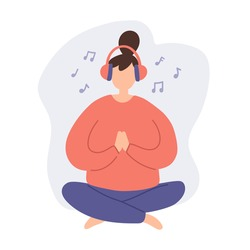 Woman meditation for concept design. Female body health illustration. Doodle cartoon woman character meditating and listen music with headphones. Music therapy. Calmness and relax