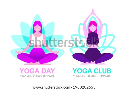 Woman meditation in lotus pose  logo for Yoga center vector template. Relax concept, yoga logo and icon design for spa salon