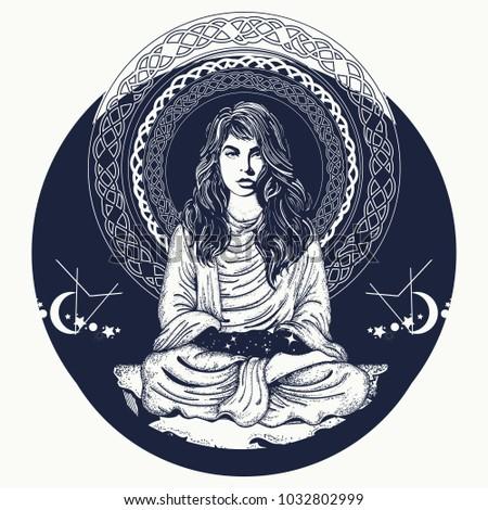 woman meditation tattoo art and