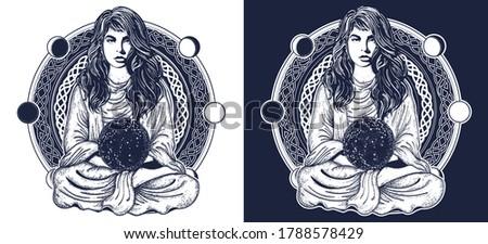woman meditation tattoo art