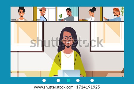 woman meeting with friends during video call Covid-19 pandemic coronavirus quarantine concept people having virtual fun live conference horizontal vector illustration
