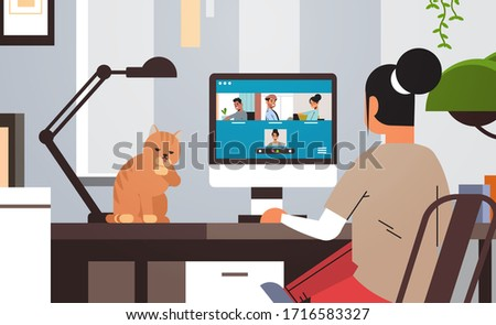 woman meeting with mix race friends during video call Covid-19 pandemic coronavirus quarantine concept people having virtual fun live conference living room interior horizontal vector illustration