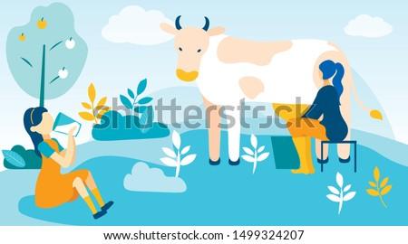Woman Milks Cow and Girl Drinks Fresh Milk. Vector Illustration. People on Farm. Farm Product. Farm Business. Little Girl in Yellow Dress. Sitting with Glass Milk in Hand on Farm. Bucket with Milk.