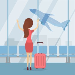 Woman miss plane at hte airport with baggage in terminal.