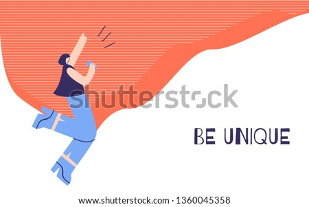 Woman Motivation Poster with Positive Inspirational Quote Text Be Unique. Banner Template with Singing Dancing Pretty Girl. Conceptual Self-Actualization of Personality Falt Vector Illustration