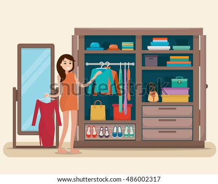woman near wardrobe for cloths