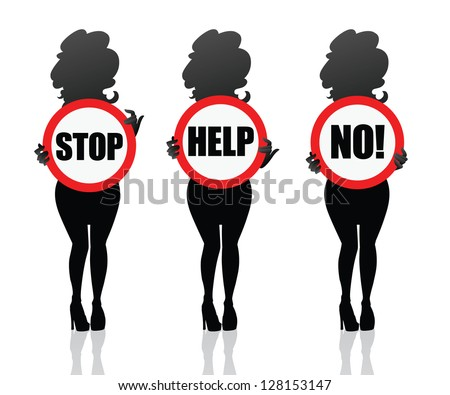 woman need help.  Girl keeping help sign in the hands. Woman silhouette isolated. Symbol for sites, banners, cards or stickers