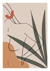 Woman Nude Illustration with Leaves. Line Woman Silhouette Art.