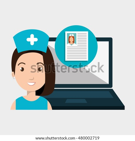 woman nurse laptop health