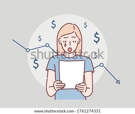 Woman of financial crisis and business problem. Hand drawn style vector design illustrations.