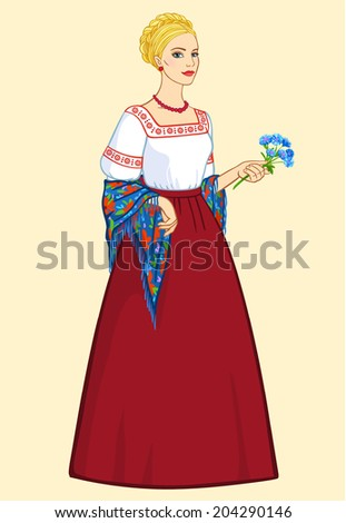 woman of slavic appearance in