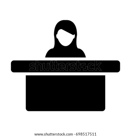 Woman Office Worker Icon Person on Help Desk Service and Working in Glyph Pictogram illustration