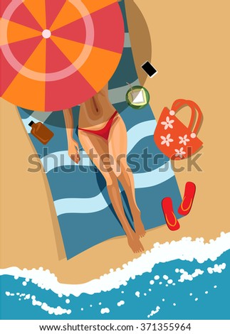 woman on beach top view