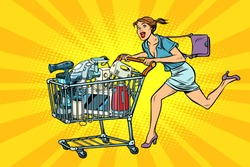 woman on sale of home appliances. shopping cart shop trolley. Pop art retro vector illustration vintage kitsch