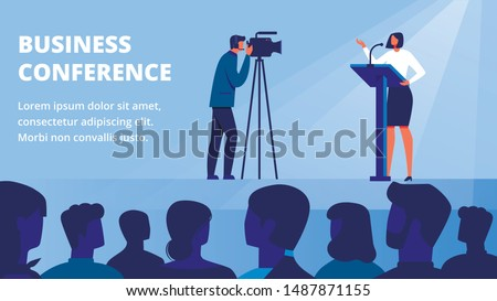Woman on Stage in front Audience Conducts Business Training. Business Conference. Vector Illustration. Woman Holds Lecture. Standing in front Audience. Stand on Stage in front People. Live Broadcast.