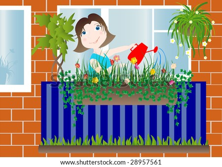 Woman on the loggia watered flowers. Vector