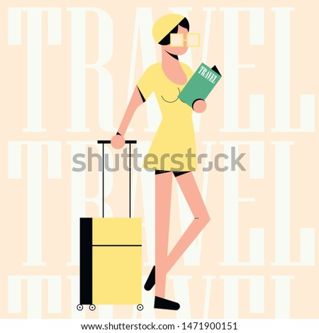 Woman or young white girl in a yellow dress standing with valise. Travel pattern background. Flat vector vintage illustration