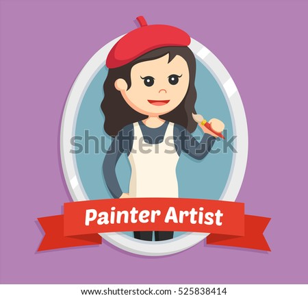 woman painter in emblem