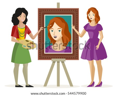 woman painting a girl portrait