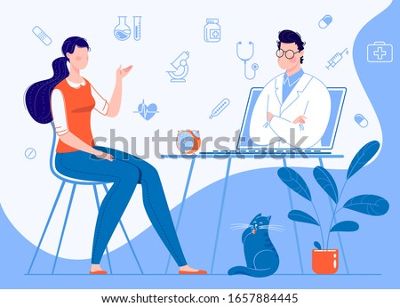 Woman patient at home sitting on a chair consults with a doctor through a laptop. Online medical care concepts. Background infographics illustration: icons of medical supplies. Vector. Illustration.