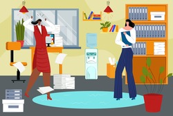 Woman people have work problem, vector illustration. Business conflict between angry worker person, employee quarrel in office.