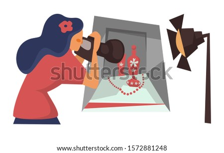 Woman photographer taking picture of still life in photo studio vector. Girl making shot of vases or perfume bottles and beads composition. Female character with camera photographing with spotlight
