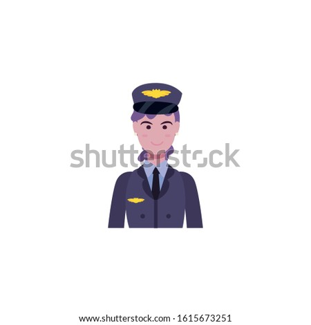 Woman pilot avatar design, Workers actions working occupation jobs proffesional employee service and labor theme Vector illustration