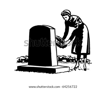 woman placing flowers on grave...
