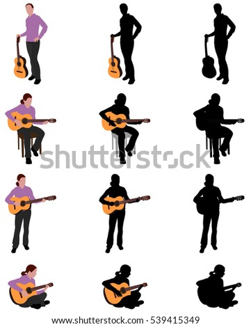 woman playing acoustic guitar silhouette and illustration - vector